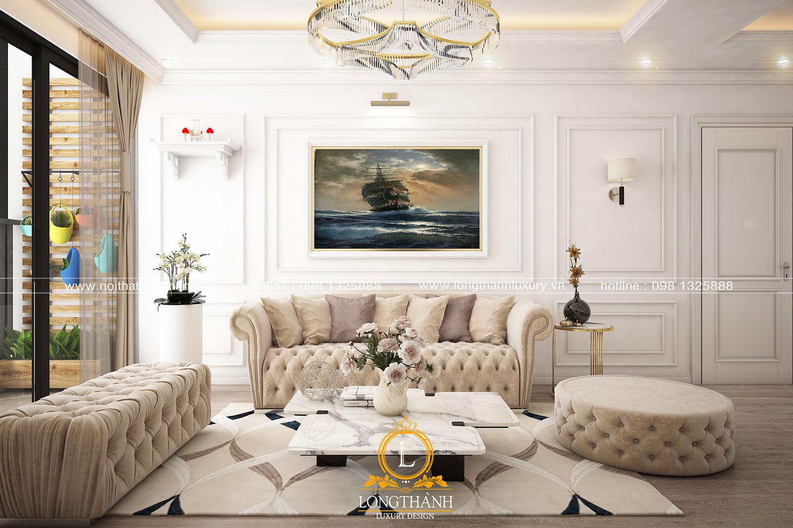 Thiết kế nội thất nhà chung cư với phong cách tân cổ điển Châu Âu