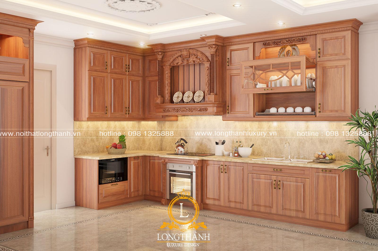 Tủ bếp tân cổ điển gỗ Gõ tự nhiên – xu hướng thiết kế phòng bếp mới nhất thị trường