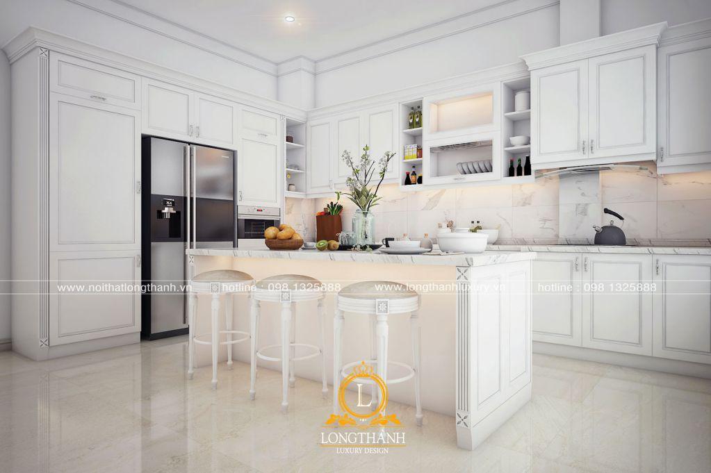 Tủ bếp gỗ tự nhiên sơn trắng LT60