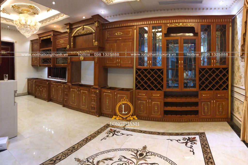 Tủ bếp gỗ tự nhiên sơn trắng LT61