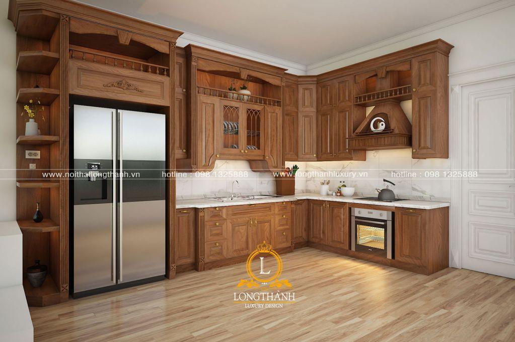 Mẫu tủ bếp tân cổ điển cơ bản được nhiều khách hàng lựa chọn trong năm 2018