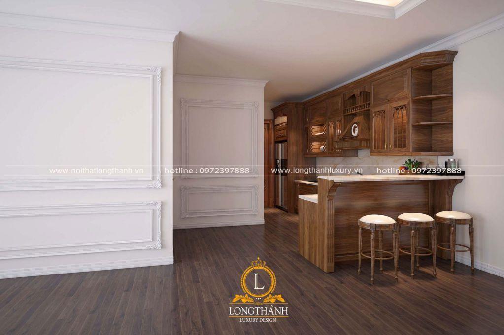 Tủ bếp gỗ tự nhiên Óc chó LT23
