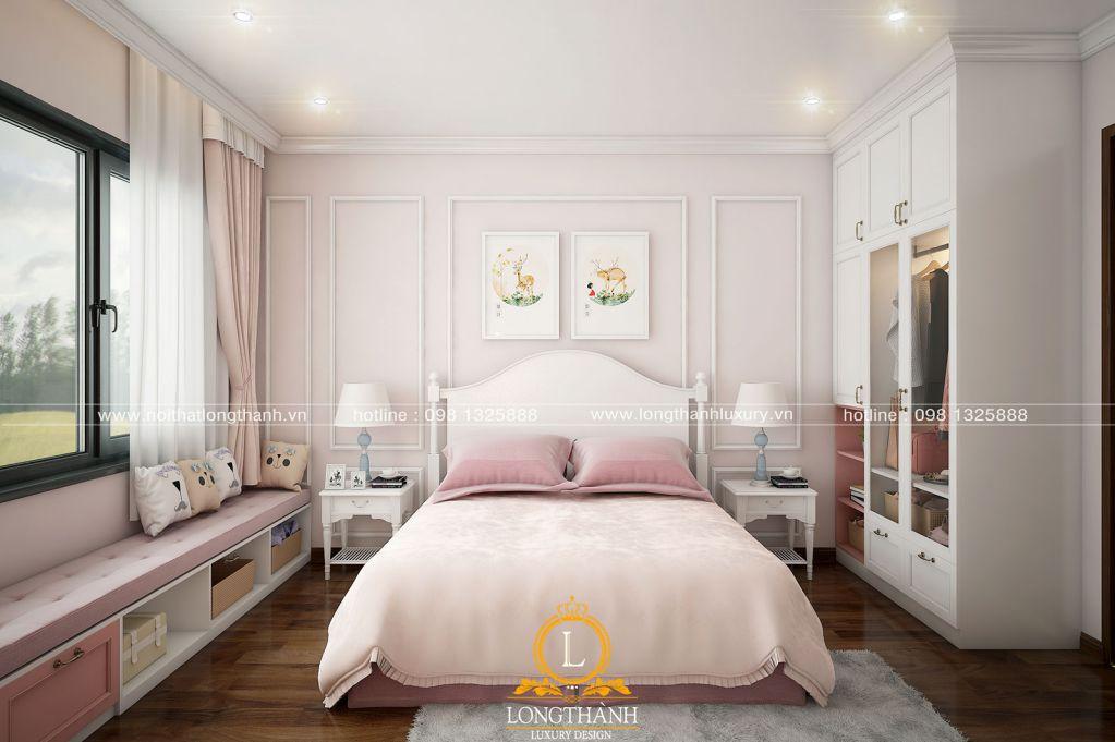 Phòng ngủ tân cổ điển nhẹ nhàng dành cho bé gái