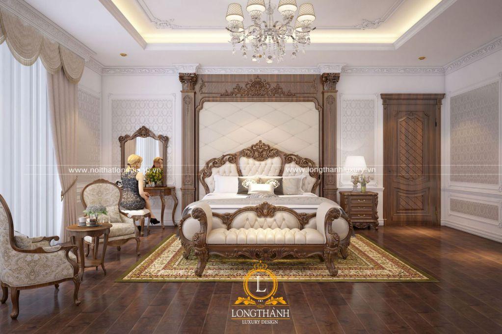 Phòng ngủ tân cổ điển gỗ Gõ tự nhiên - mẫu phòng ngủ đẹp năm 2019