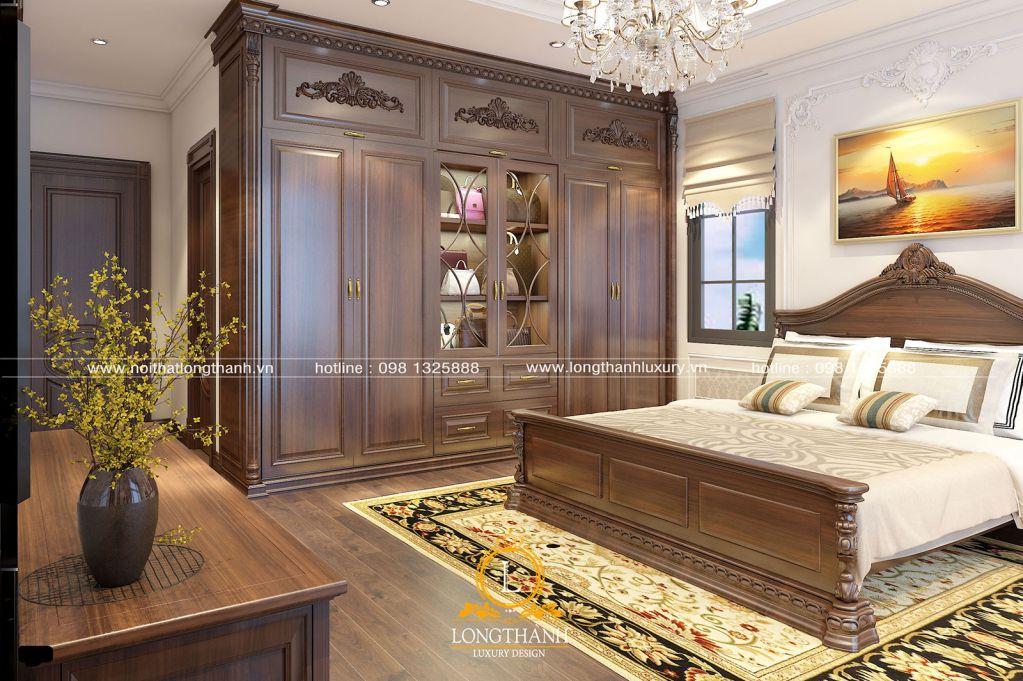 Mẫu phòng ngủ đẹp năm 2019 – phòng ngủ tân cổ điển gỗ tự nhiên