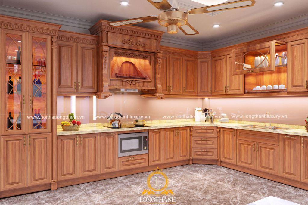 Tủ bếp chữ L cho không gian bếp rộng