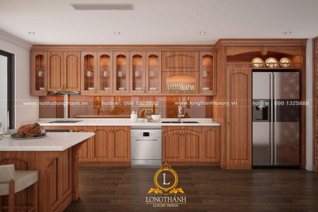 Tủ bếp tân cổ điển - đường cong vẽ nên sự tinh tế