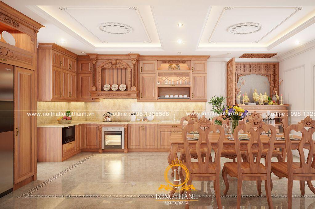 Tủ bếp gỗ Gõ LT35