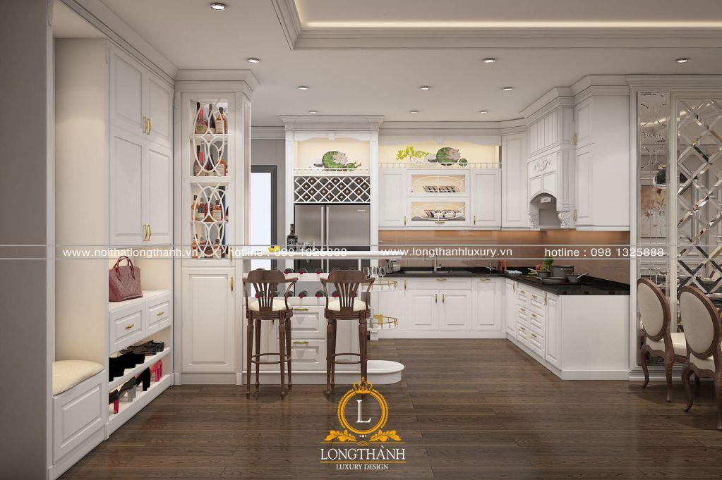 Tủ bếp gỗ tự nhiên sơn trắng LT64