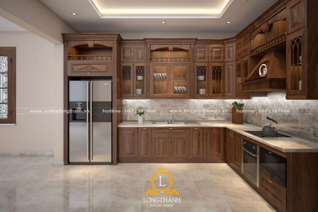 Mẫu tủ bếp đẹp theo phong cách tân cổ điển không nên bỏ qua