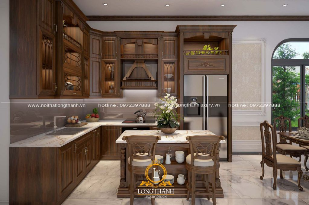 Tủ bếp gỗ tự nhiên Óc chó LT22