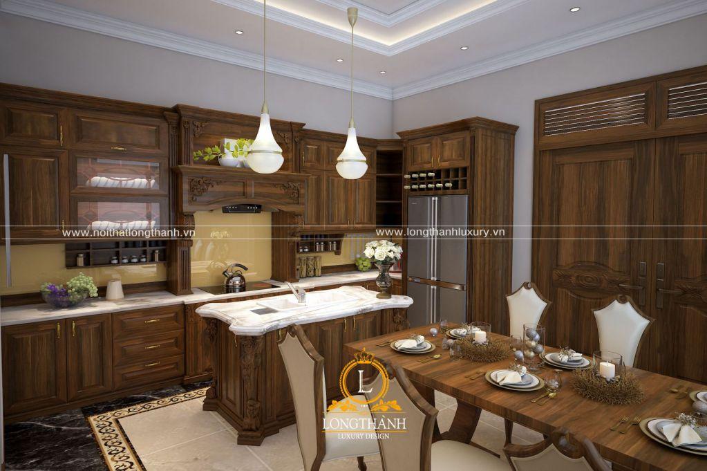 Tủ bếp gỗ Sồi Mỹ LT33