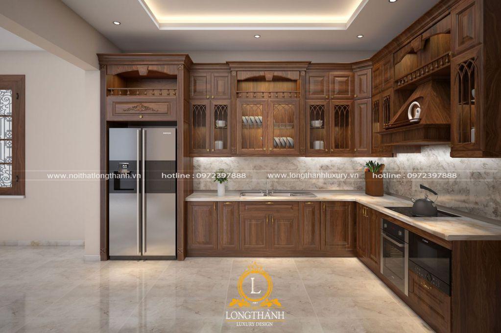 Tủ bếp gỗ Sồi Mỹ LT40
