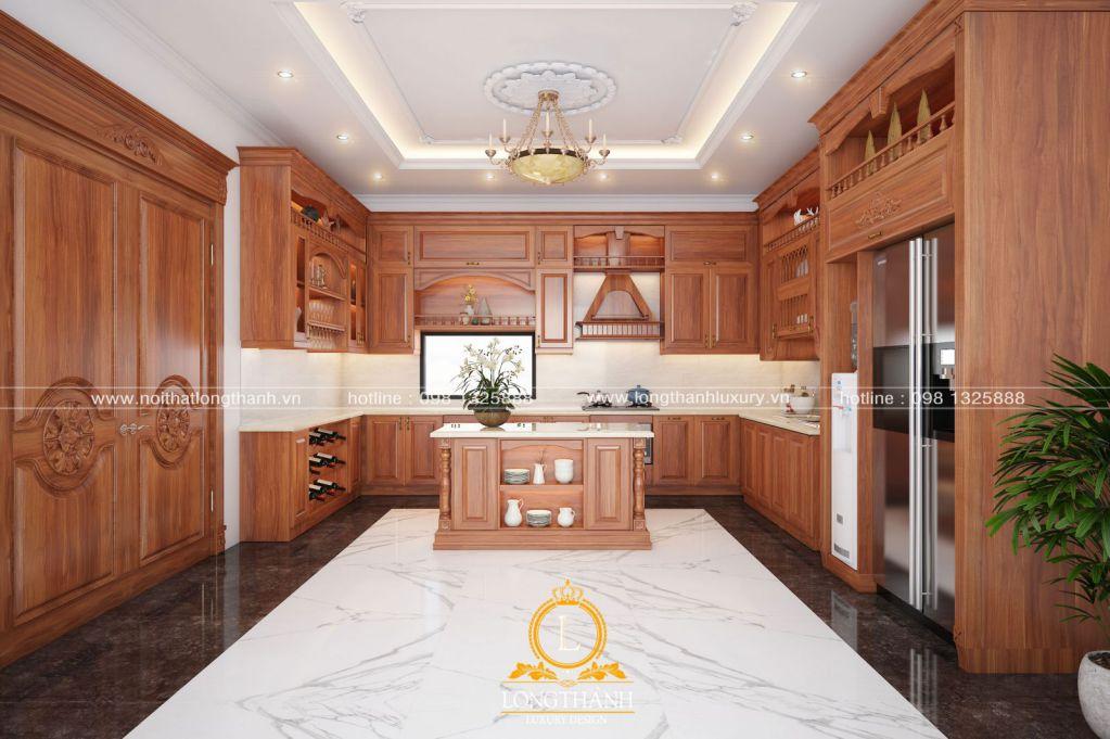Tủ bếp gỗ Sồi Mỹ LT35