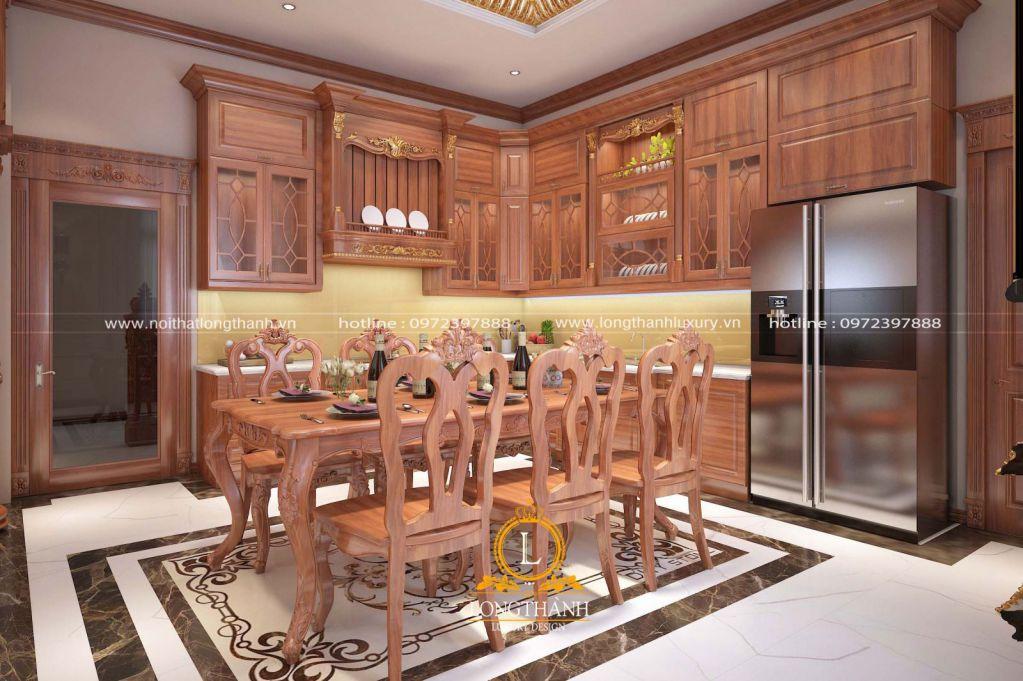 Tủ bếp gỗ tự nhiên sơn PU LT56