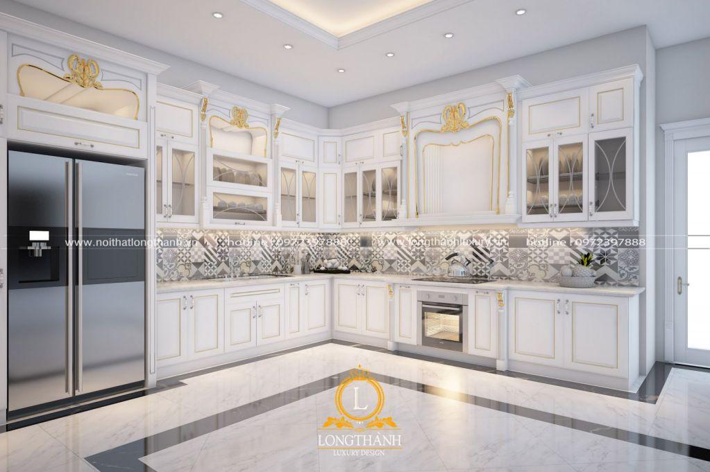 Dự án thiết kế tủ bếp sơn trắng nhà anh Hùng tại TP Nam Định