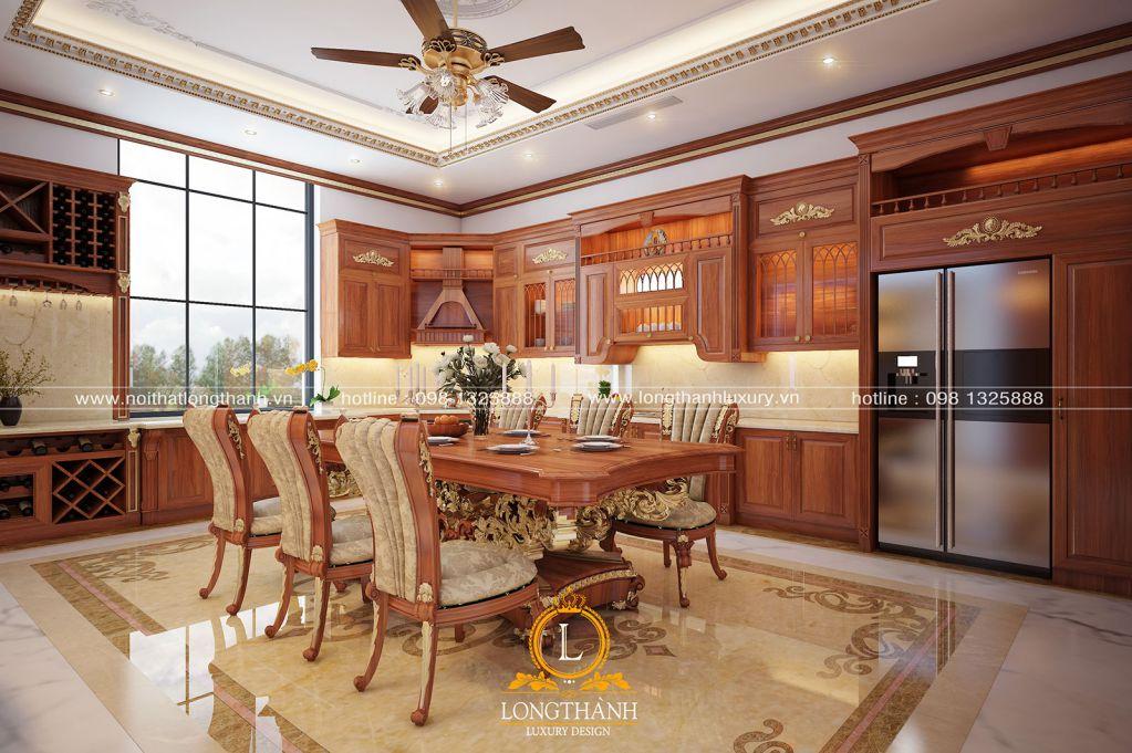 Tủ bếp tân cổ điển gỗ Gõ – khi nét đẹp đẳng cấp lên tiếng