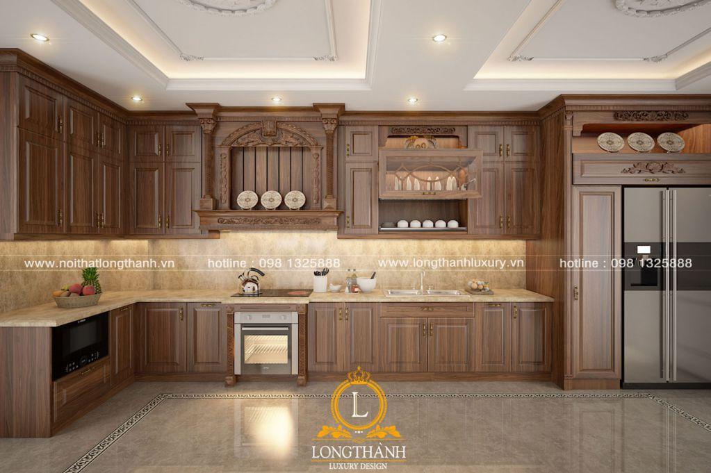 Tủ bếp tân cổ điển sơn màu nâu Socola - nét đẹp Châu Âu trong căn bếp Việt