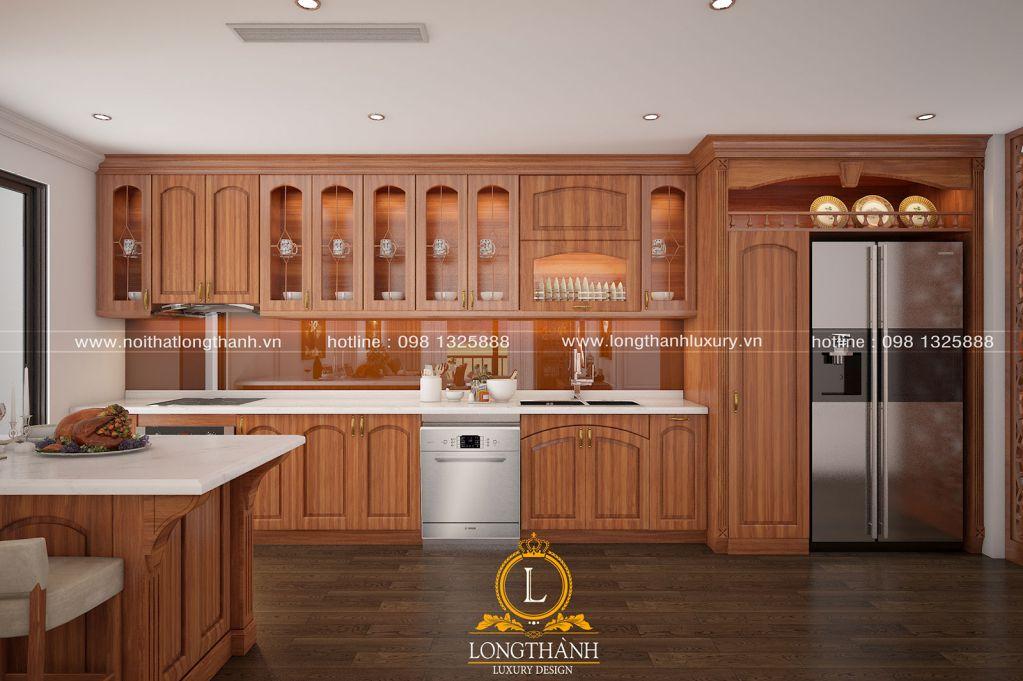 Tủ bếp gỗ Gõ LT34