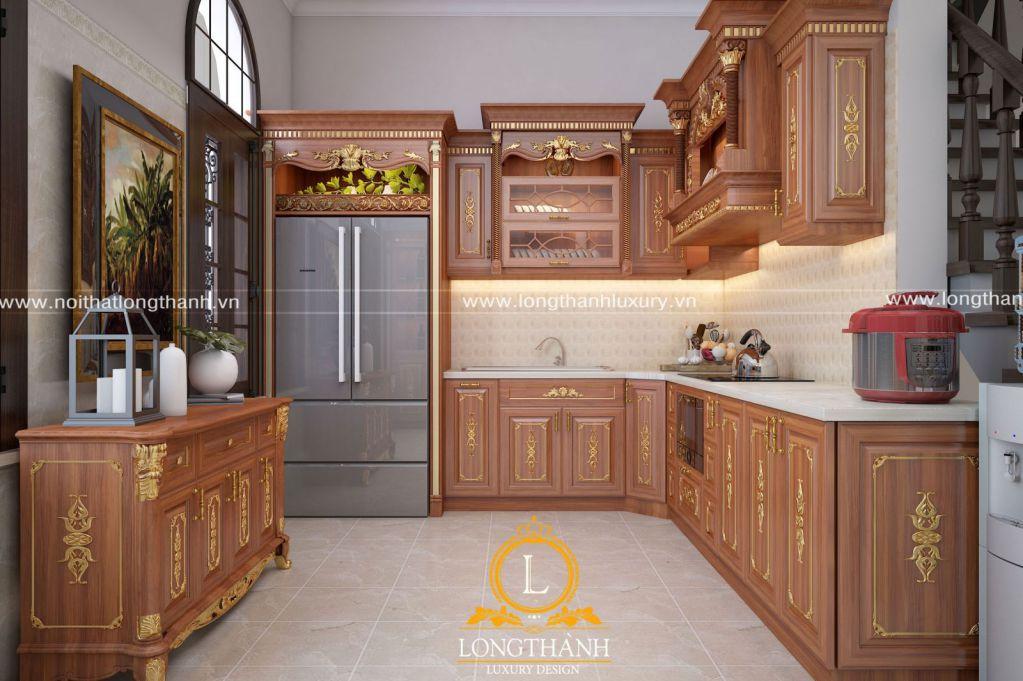 Mẫu tủ bếp tân cổ điển góc L cho không gian nhà ống tiện nghi hiện đại