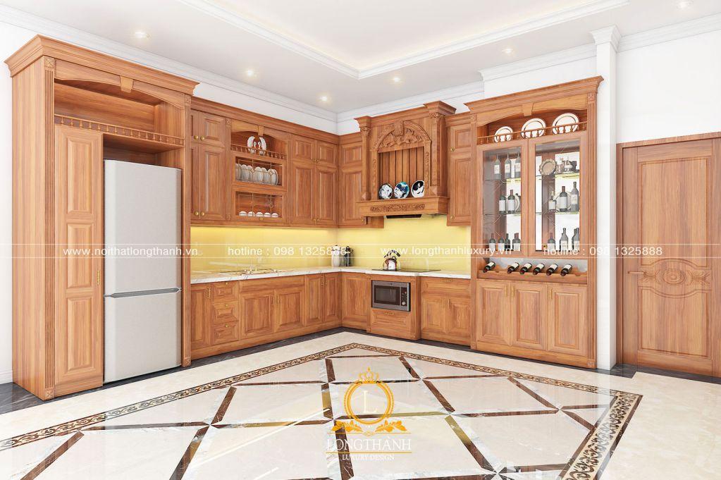Tủ bếp tân cổ điển gỗ Gõ tự nhiên – giấc mơ về hạnh phúc giản đơn