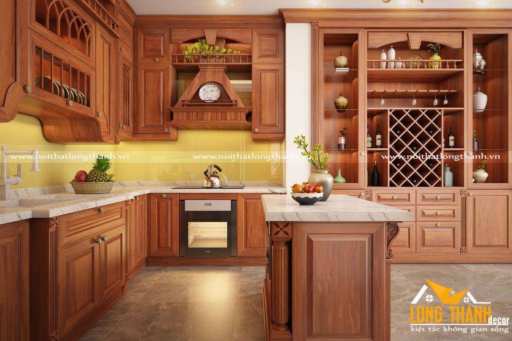 Tủ bếp gỗ Sồi Mỹ LT26