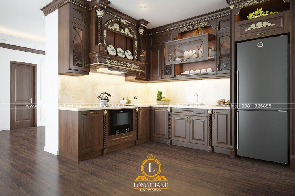 Tủ bếp tân cổ điển sơn nâu đen – một sự mới lạ trong nét đẹp quen thuộc