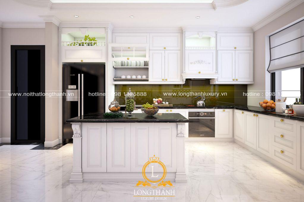 Tủ bếp gỗ tự nhiên sơn trắng LT63