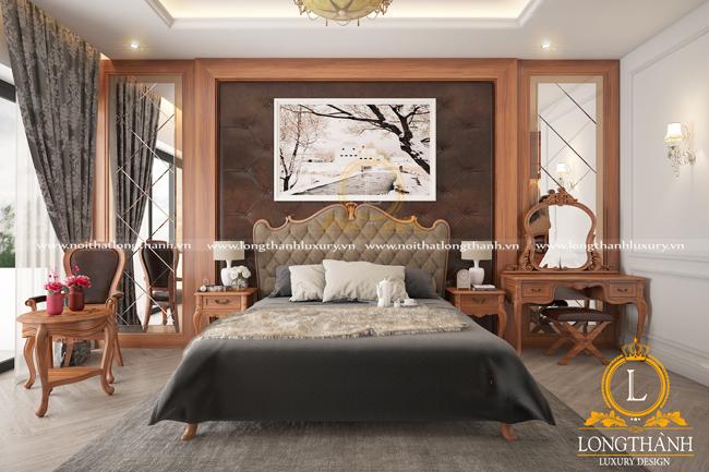 Phòng ngủ tân cổ điển nhẹ nhàng với gỗ Gõ tự nhiên