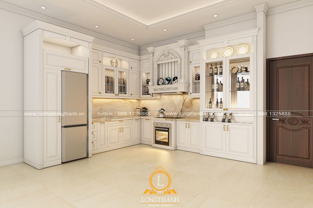 Tủ bếp gỗ tự nhiên sơn trắng LT59