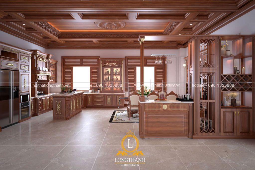 Tủ bếp gỗ Gõ LT43