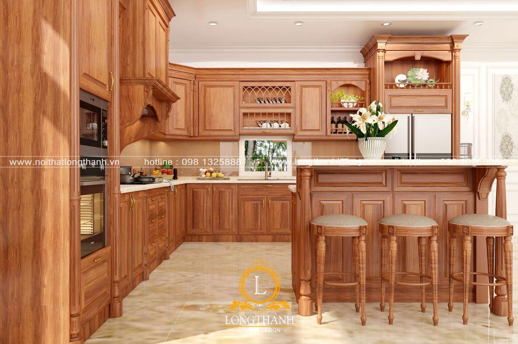Tủ bếp gỗ Gõ LT45