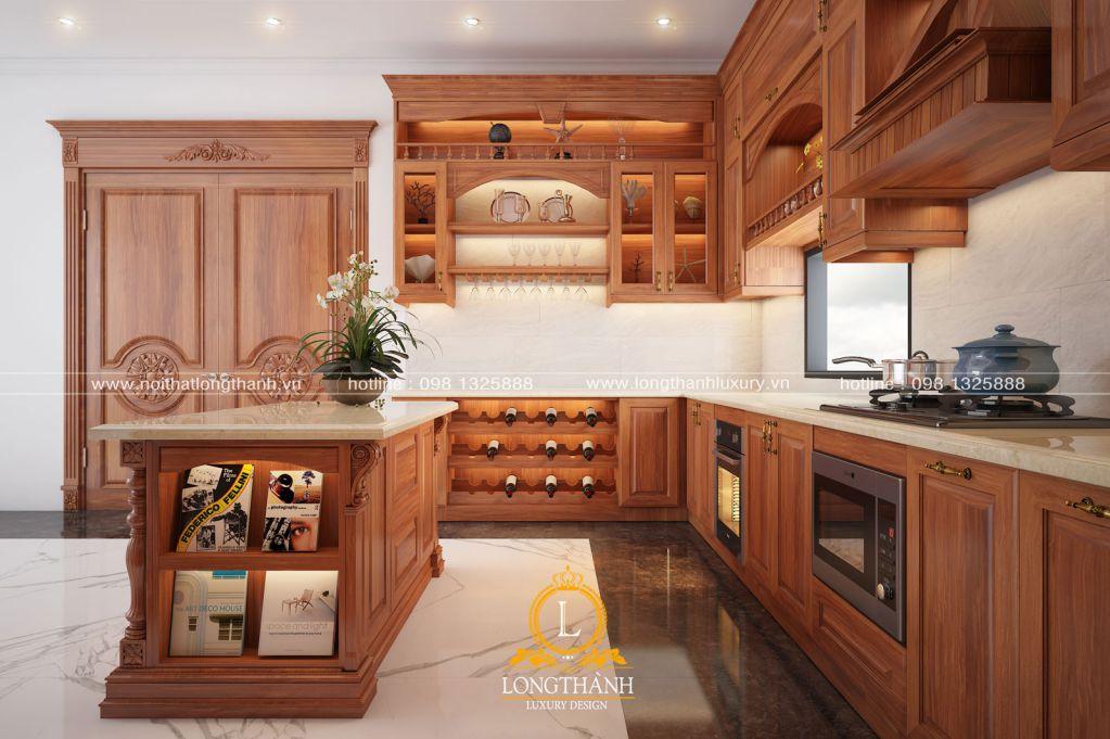 Tủ bếp gỗ Gõ LT33