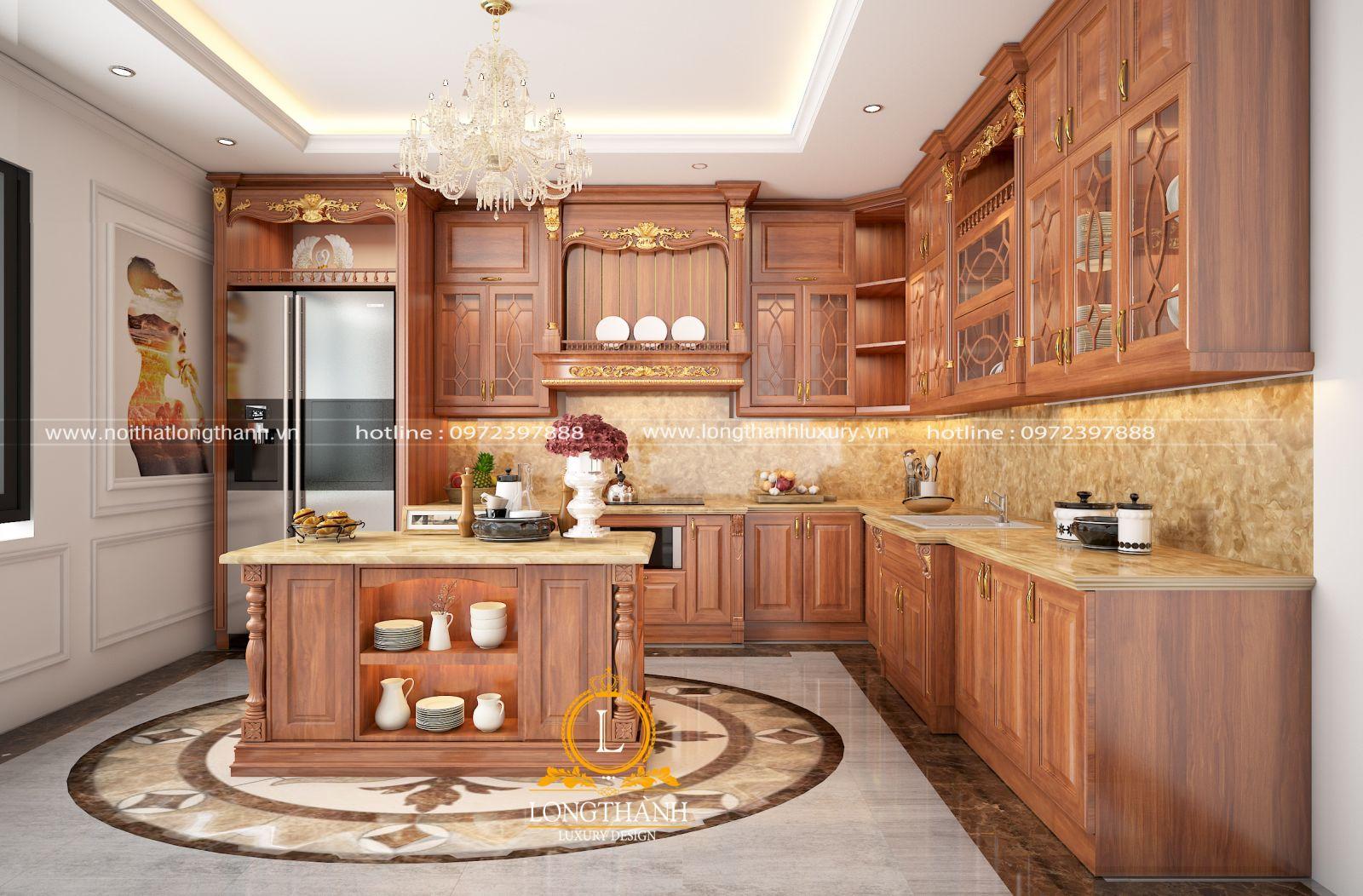 Tủ bếp gỗ tự nhiên của Nội thất Long Thành và những điều bạn chưa biết