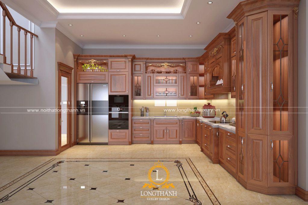Tủ bếp gỗ gõ LT51