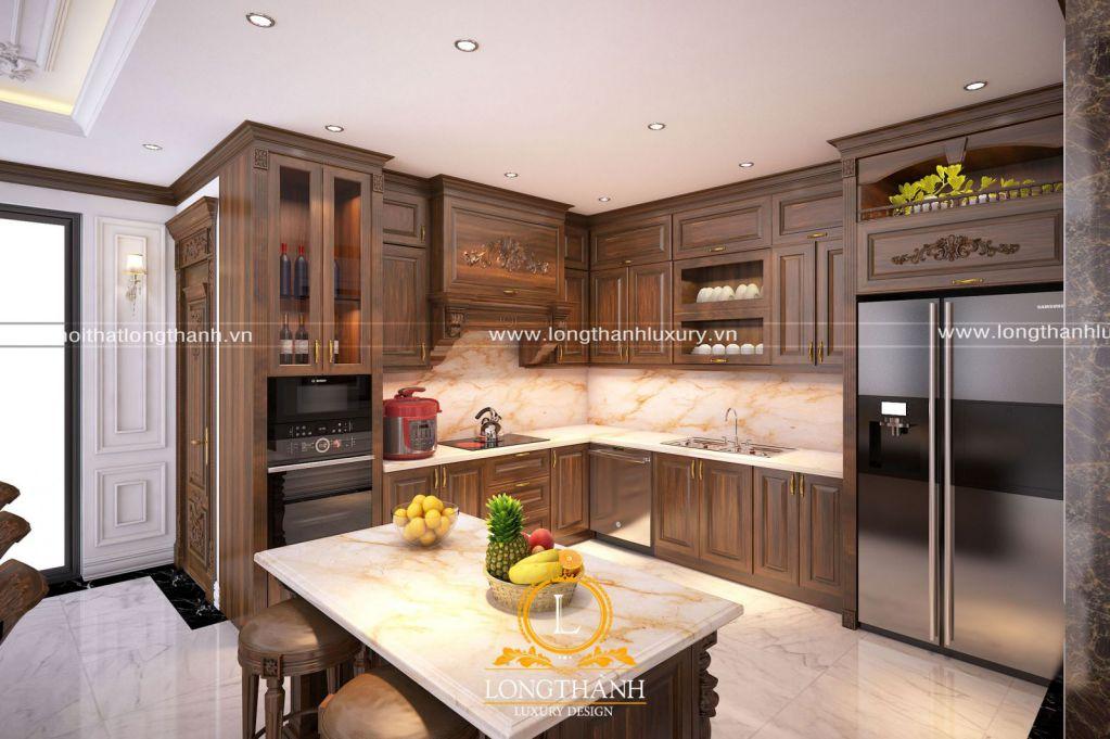 Tủ bếp gỗ tự nhiên Óc chó LT21
