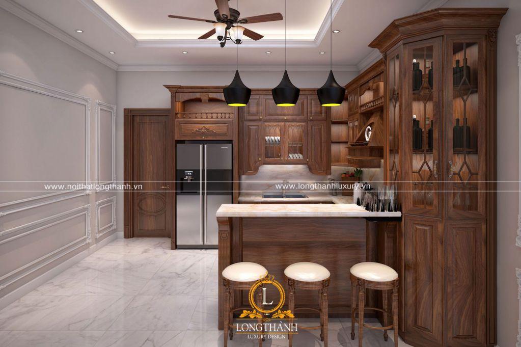 Tủ bếp gỗ tự nhiên Óc chó LT19