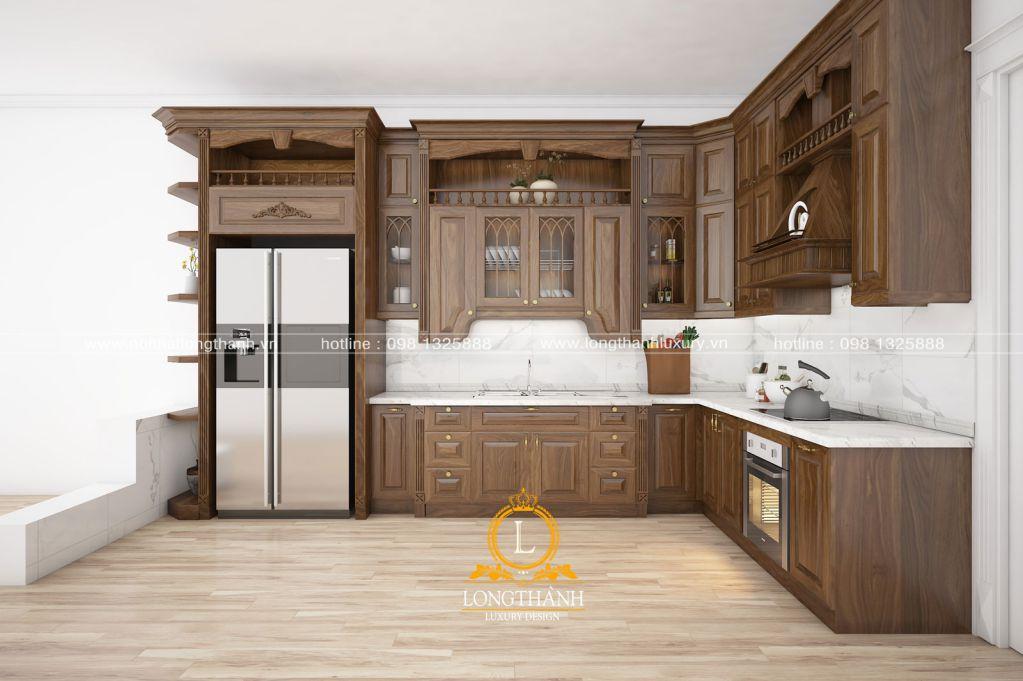 Tủ bếp gỗ tự nhiên Óc chó LT15