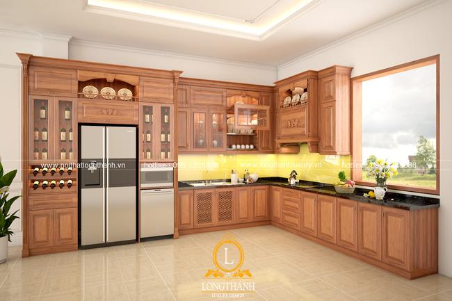 Tủ bếp gỗ tự nhiên sơn PU LT46