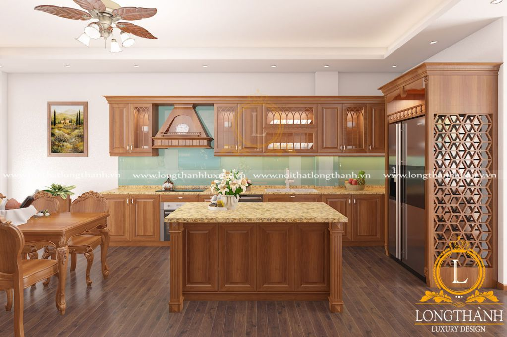 Tủ bếp gỗ Gõ LT36