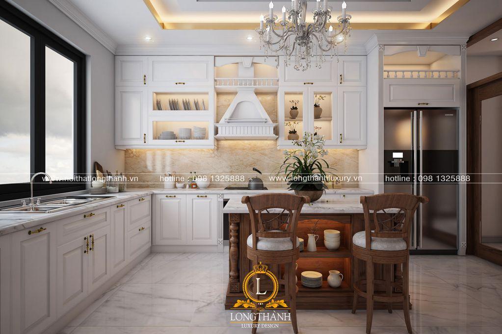 Nội thất phòng khách bếp tân cổ điển gỗ Gõ – vẻ đẹp của sự đẳng cấp, quyền lực