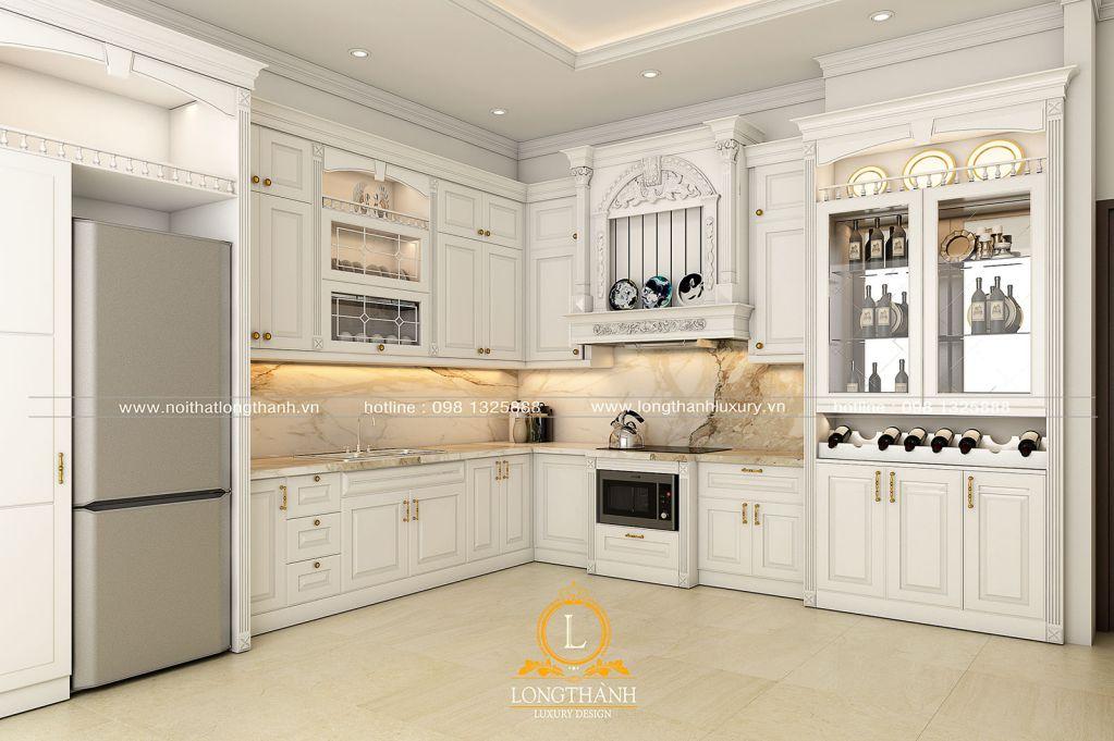 Tủ bếp tân cổ điển sơn trắng – một điểm nhấn khác lạ cho gian bếp mỗi gia đình
