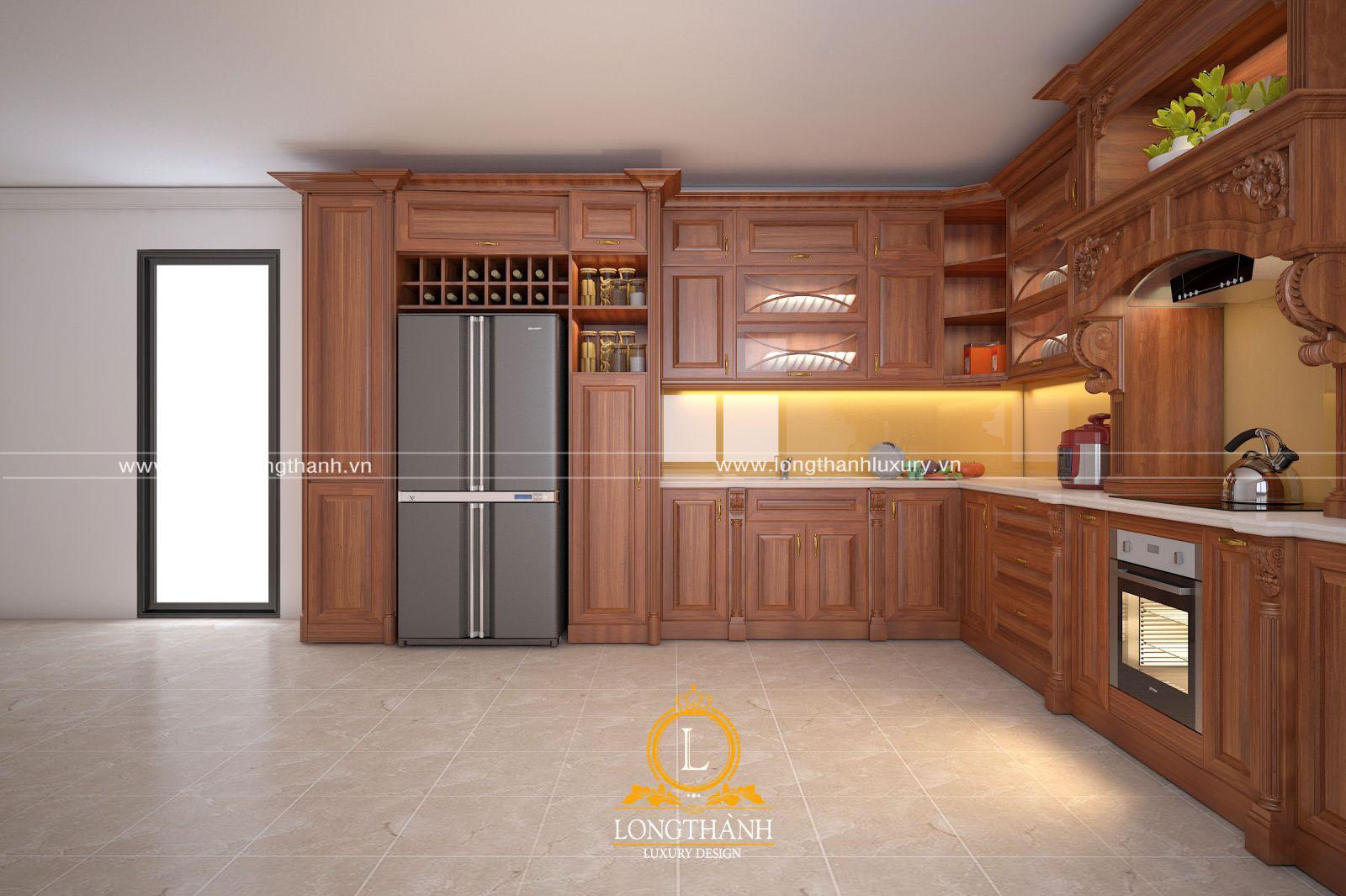 Mẫu tủ bếp gỗ hương tân cổ điển sang trọng