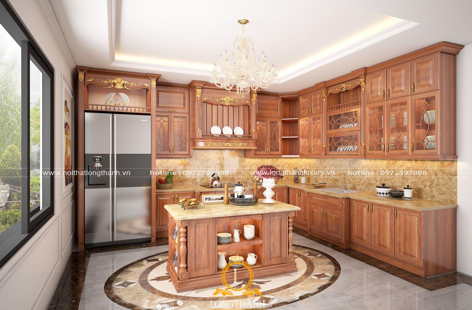 Mẫu thiết kế tủ bếp gỗ tự nhiên đẹp, sang trọng
