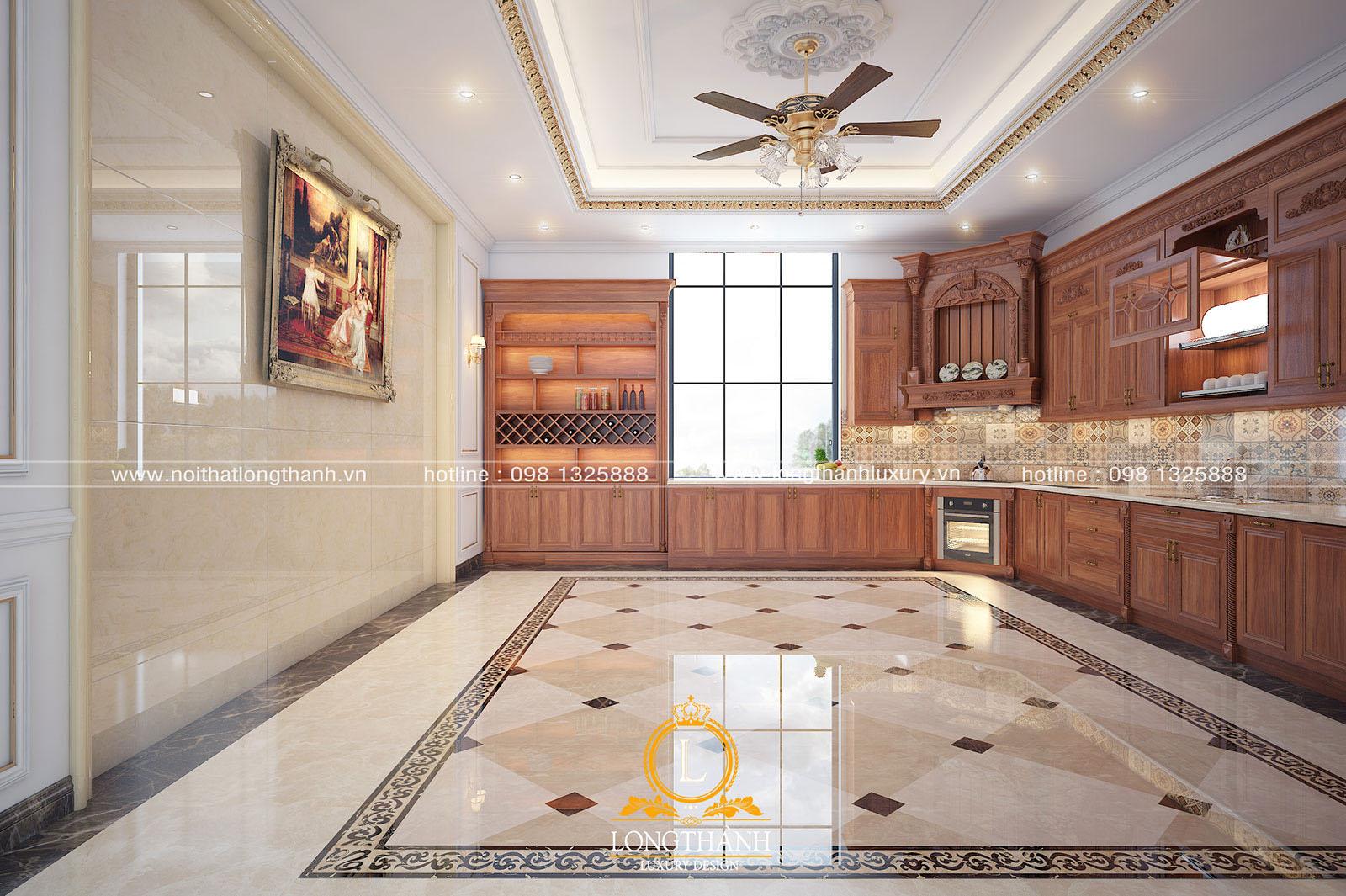 Mẫu tủ bếp gỗ tự nhiên gắn tường gọn gàng làm phòng bếp thêm rộng và sáng hơn