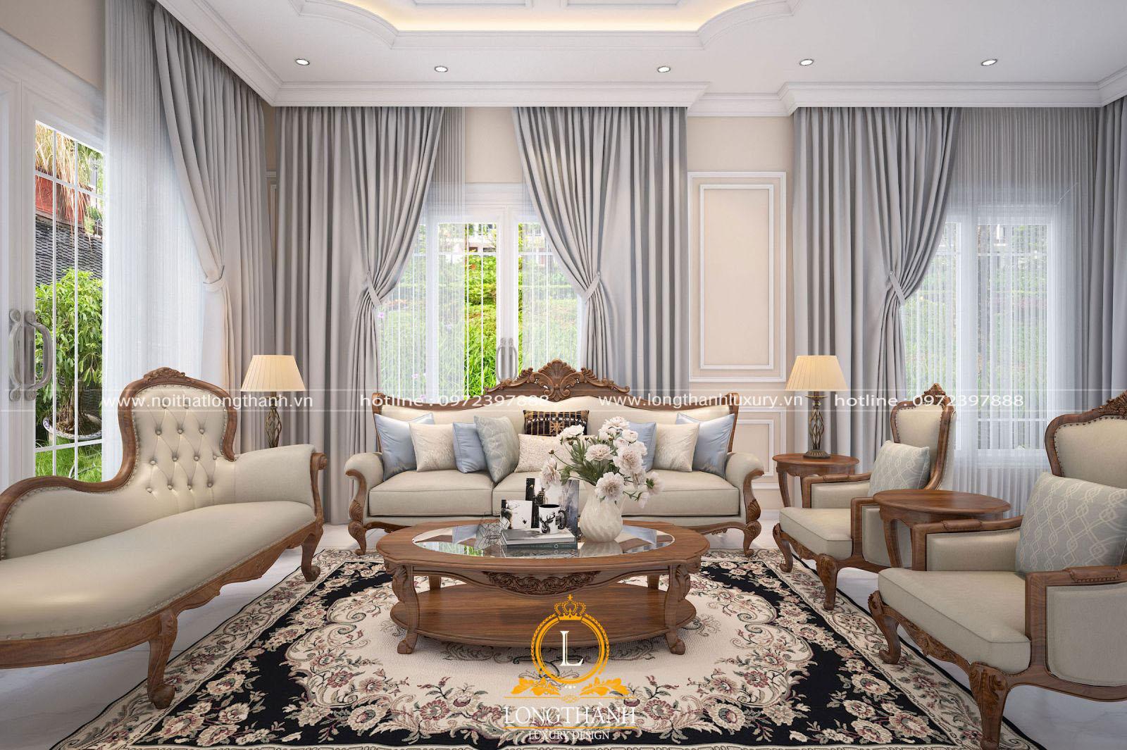Mẫu sofa tân cổ điển đẹp LT13 góc nhìn chính diện