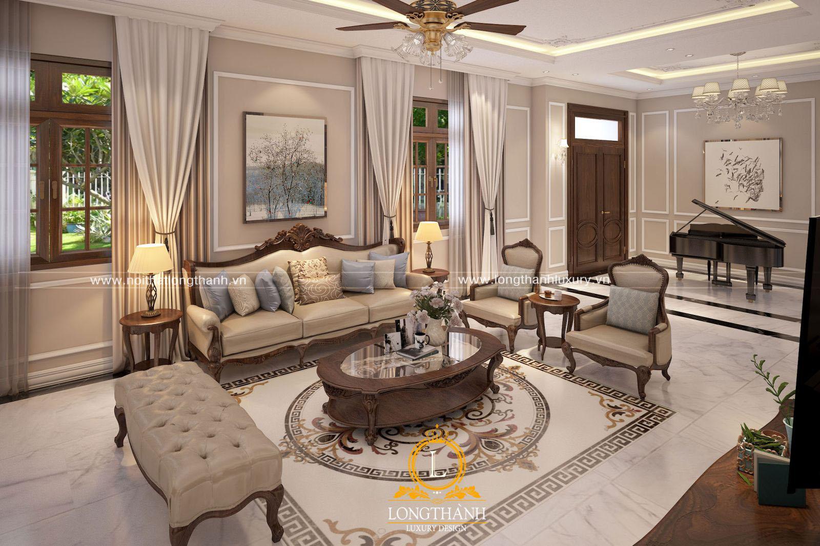 Thiết kế phòng khách với sofa tân cổ điển sang trọng