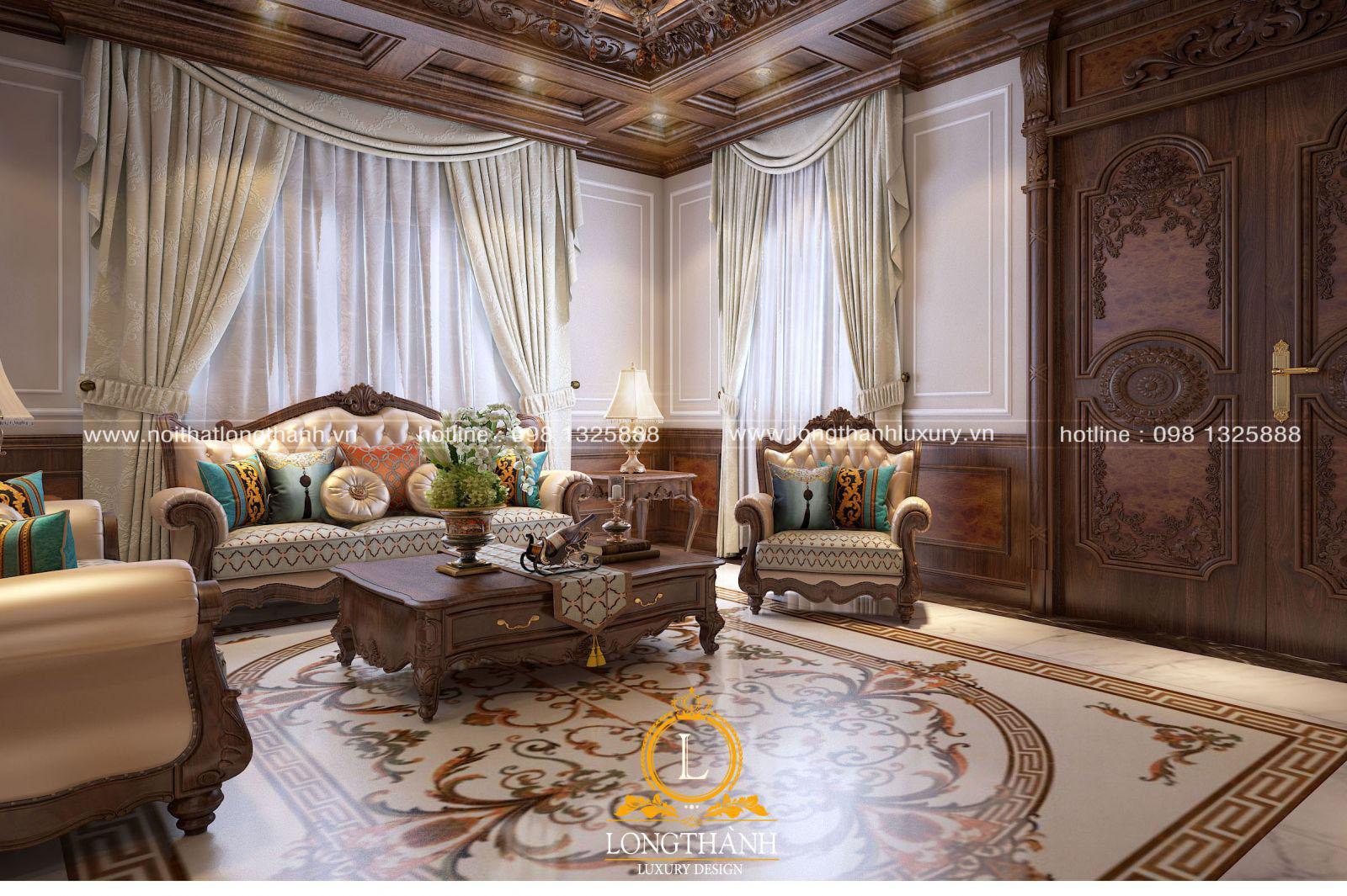 Mẫu sofa tân cổ điển đẹp LT07 góc nhìn thứ 3