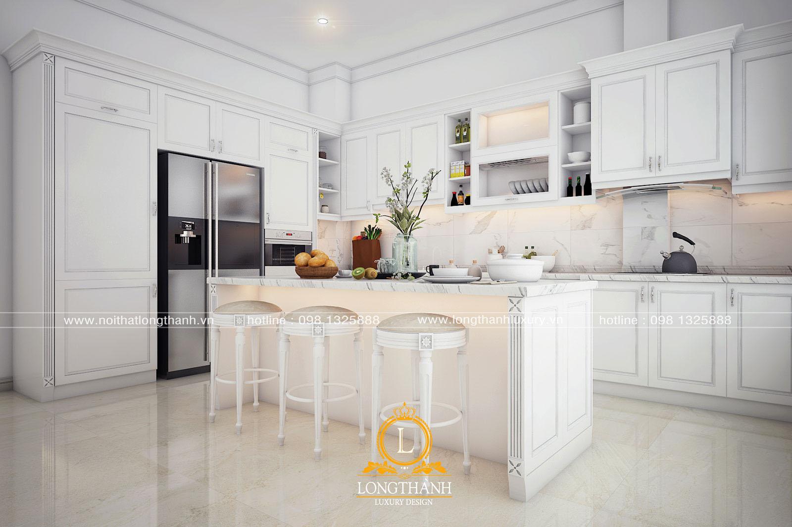 Tủ bếp gỗ tự nhiên sơn trắng đẹp LT 60 góc nhìn thứ 2