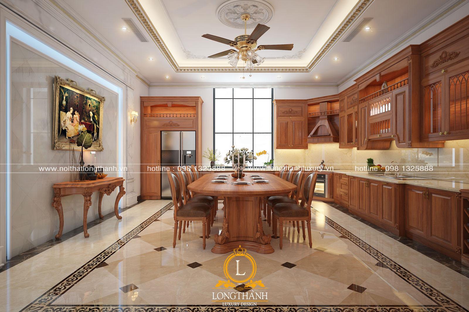 Cửa sổ lớn đón ánh sáng tự nhiên vào căn bếp